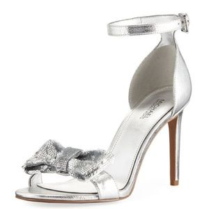 Paris Metallic Sandal with Sequined Bow NEW